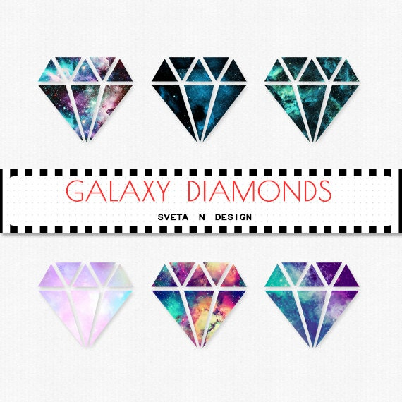 Glitter DIAMOND Clipart Galaxy 6 psc PNG Instant Download