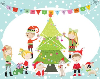 Christmas party ,Christmas children, christmas Clipart Instant Download,PNG ,JPEG file - 300 dpi