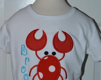 Personalized Lobster Applique Shirt or Onesie Boy or Girl