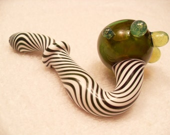Green Twist Sherlock Pipe - medium/large glass calabash pipe