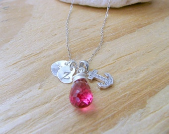 Personalized Heart Necklace monogram necklace Pink quartz necklace 925 Sterling Silver cz anchor two handstamped Hearts bridesmaid sets