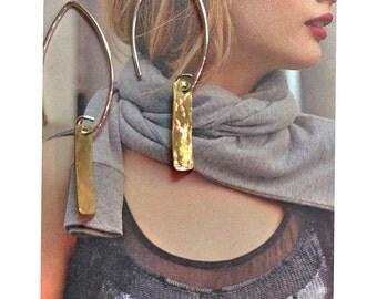 Hammered Bar Earrings, Dainty Bar Earring, Brass Earrings, Dangle Earring, Mixed Metal, Linear Earrings, Minimalist, Everyday Earrings