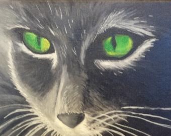 Green Eye Cat  8 x10 original painting on canvas
