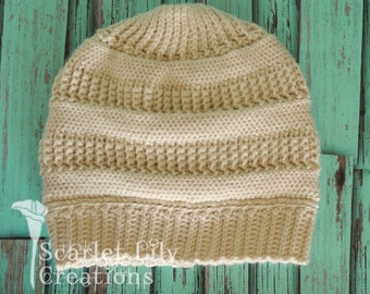 Knit-Look Striped Crochet Slouch Hat - Adult size only
