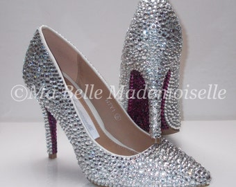 Crystal Shoes with Crystal Soles ( Of your colour choice ) Crystal Bridal Shoes, Crystal Wedding Shoes