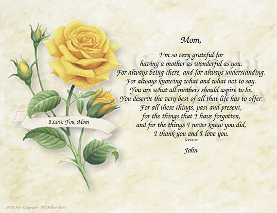 Mother Daughter Poem - Mothers Gift idea - Flower Print - Background Choices - Art Prints