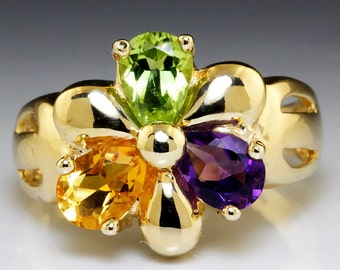 Estate 1.75ctw Peridot, Amethyst & Citrine Wide Flower Ring in 14kt Yellow Gold