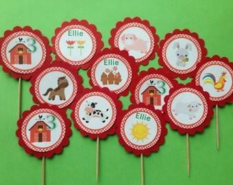 Farmyard Personalised Cupcake Toppers
