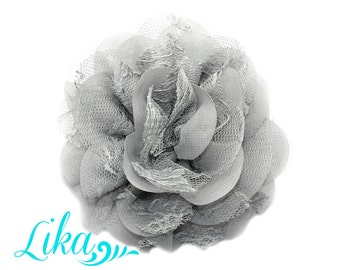 Gray Lace Flowers - Chiffon Flower - Lace rose - Shredded Lace Flower - Wholesale - Supply - DIY- 3.75 inch