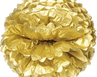 Five (5) - Gold Tissue Pom Poms/Paper Flowers in 10 inch, 15 inch, 20 inch, 24 inch, 30 inch