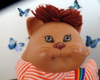 1983 Cabbage Patch Koosas CAT doll.  He is dressed in cute little short-alls. Cabbage Patch animals