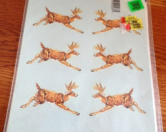 sheet of 1977 Hand painted REINDEER decals by Decoral.