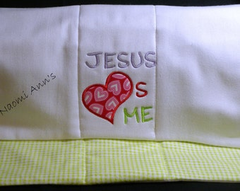 Personalized burp cloths, baby burp cloth, Personalized baby gift,Diaper Burp Cloth with flannel backing,Religious Baby Gift, Jesus loves Me