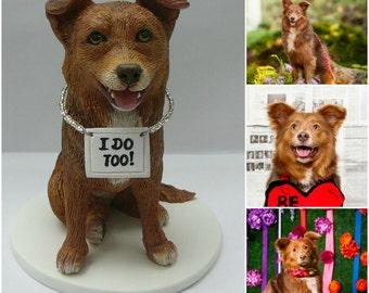 Custom Smiling, Sitting Dog Wedding Cake Topper, Polymer Clay.