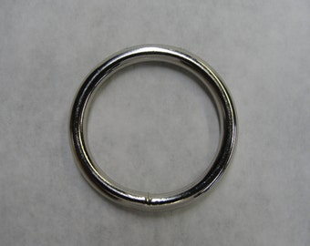 """lot of 100 metal O-rings welded nickel plated high quality 3/4"""" 1"""" 1-1/4"""" 1-1/2"""" silver/chrome Leather Craft Heavy Duty"""