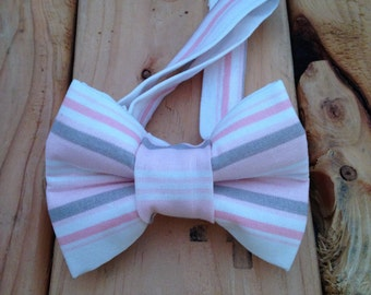 Pink and gray bow tie, bow tie, Pink bow tie, gray bow tie, striped bow tie, pink striped tie, gray striped tie, adjustable bow tie