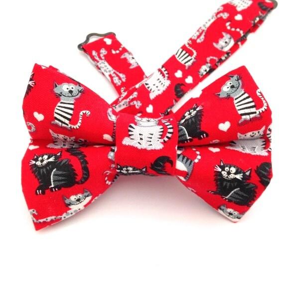 Cat Bow tie Valentine bow tie Red bow tie Heart Bow tie