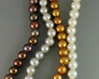 Large Hole A Grade Freshwater Pearls 8mm with 2mm Hole, Leather Necklace, Bracelet, Lariat, Large Hole Pearl Beads, Leather Jewelry, ES01