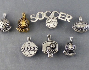 Sports pendants etsy sterling silver and vermeil volleyball softball soccer football and basketball sports pendants mozeypictures Gallery