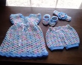 Crochet summer baby dress 4 pc set, pastel multi-colored baby dress, panties, booties, headband, baby girl outfit, baby girl layette