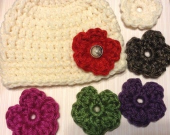 Adorable Hat/beanie with interchangeable flowers!