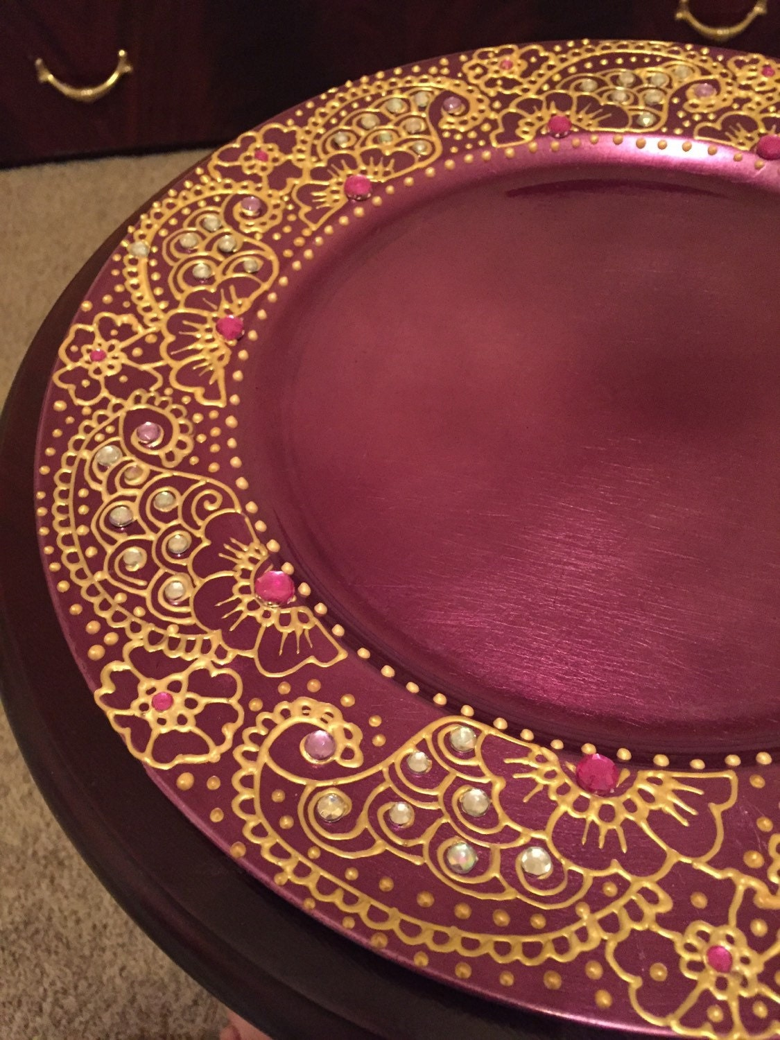 Decoration Of Mehndi Plates : Charger plate candle decorative henna by