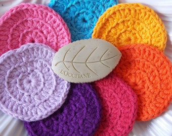 Face scrubbies make up cosmetic removal pads set of 7 for a week ecofriendly reusable washable purple pink lavender yellow red orange blue