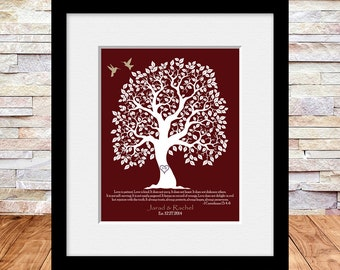 1 Corinthians 13:4-6, Wedding Gift, Bridal Shower Gift, Personalized Wedding Gift, Love is Patient, Wedding Tree Print with Lovebirds