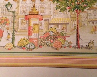 Adorable Paris street scene - roll of wall paper