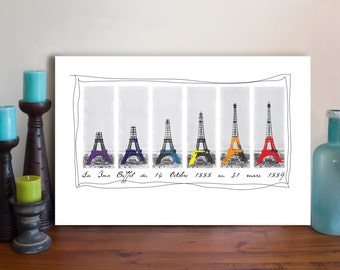 Eiffel Tower Canvas Art Print - Eiffel Tower Art Painting - Digital Mixed Media Art - Paris La Tour Eiffel