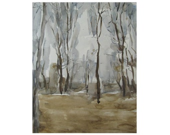 Autumn. Landscape with trees - original watercolor