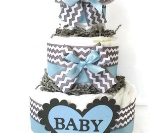 Chevron Blue and Grey Diaper Cake, Boy Baby Shower Centerpiece, Blue and Gray Baby Diaper Cake