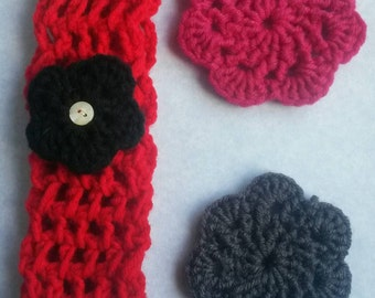 Red child's crochet hair band, crochet head band, red hair band, red head band, little girl head band, little girl hair band, girl head band