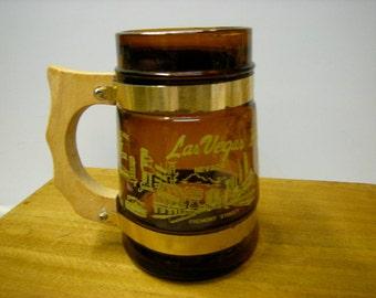 vintage souvenir mug-las vegas-beer mug-shelf decor-bar-mancave-wood handle-