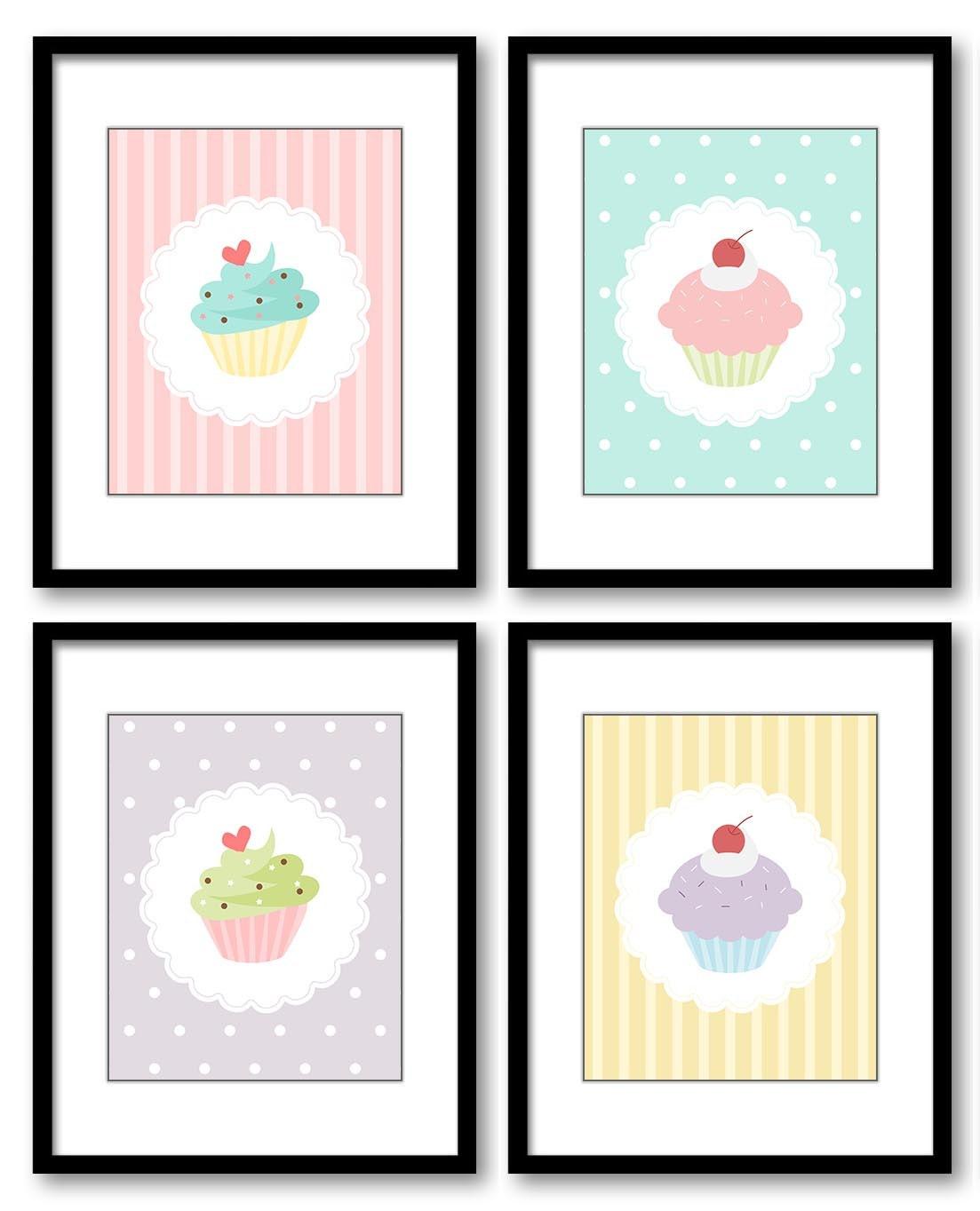 Kids Art Nursery Art Nursery Print Child Baby Art Cute Cupcakes Print Set of 4 Pink Purple Yellow Bl