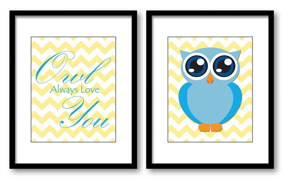 Owl Always Love You Nursery Art Nursery Print Set of 2 Polka Dots Yellow Blue Turquoise Child Prints