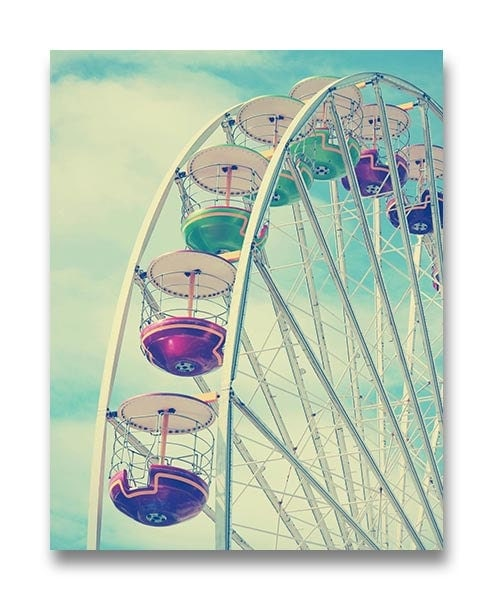Blue Ferris Wheel Nursery Art Old Carnival Nursery Print Child Baby Art Prints Vintage Fair Circus A
