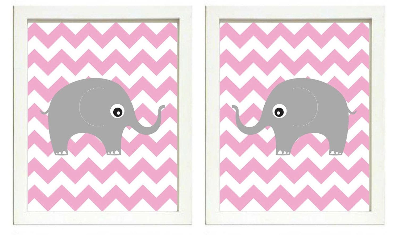 Elephant Nursery Art Nursery Print Set of 2 Elephants Pink Chevron Grey Child Art Prints Girl Kids R