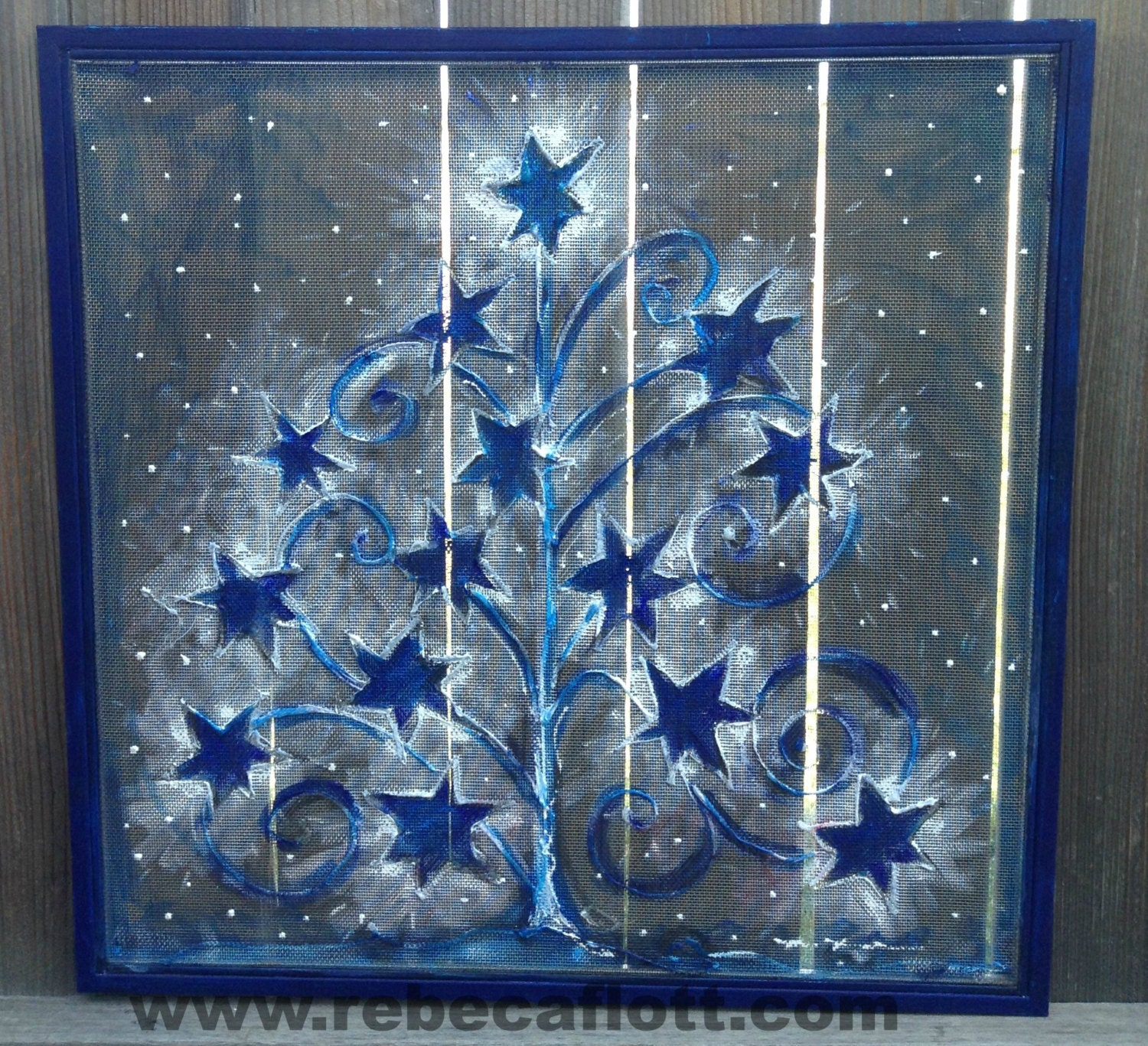 Recycle old window screen hand painting blue by