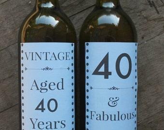40th Birthday Wine Bottle Labels - Blue