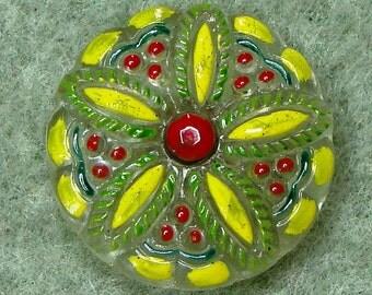 "Czech Glass Button 10""= 23mm - hand painted - blossom, yellow, green, red (B23171)"