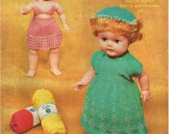 12 inch and 14 inch dolls clothes knitting pattern. Vintage copy. PDF Instant download.