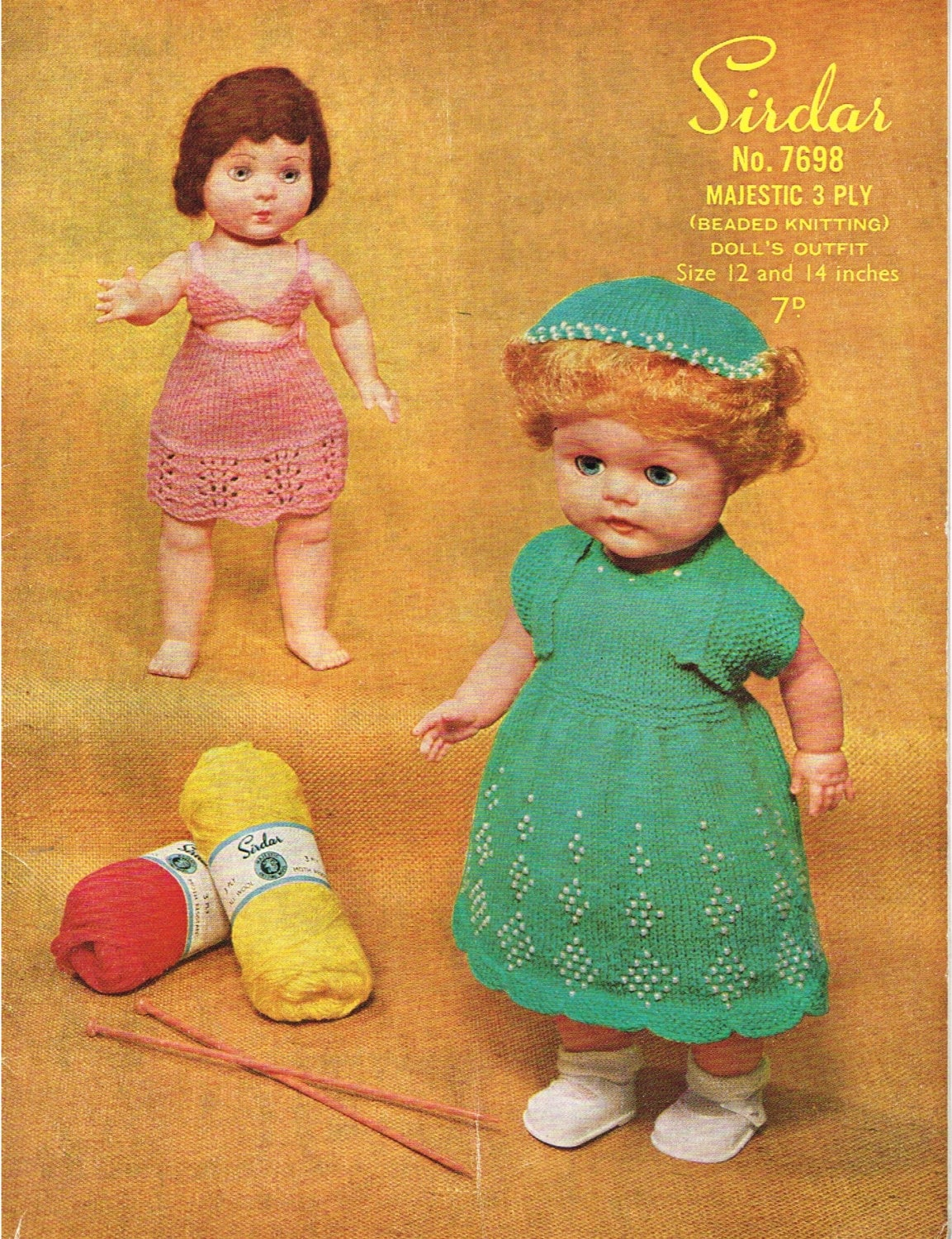 Knitting Patterns For Dolls Clothes 12 Inch : 12 inch and 14 inch dolls clothes knitting pattern. Vintage