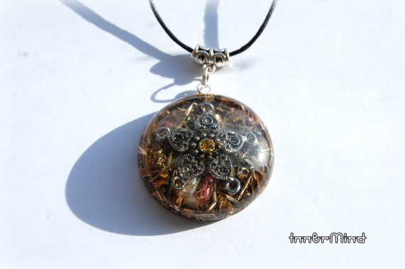 orgonite orgone pendant selenite terminated quartz by