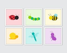 Bugs Nursery Art, Insects Wall Print, Bugs Wall Art, Bugs Decor, Insects Decor, Baby Nursery Decor, Bugs Baby Room Decor, Bugs Prints