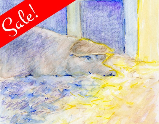 SALE: Sleeping Pig #2, Watercolor Painting