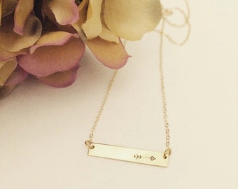 Hand stamped 14k gold filled necklace or sterling silver arrow bar necklace, arrow necklace