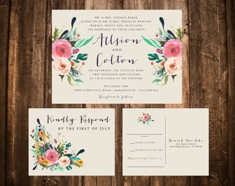 Bright Bohemian Floral Wedding Invitations; Watercolor; Printable OR set of 25