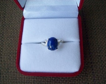 Genuine Blue Lapis Cabochon Ring in Pure Sterling Silver - Size 5,6,7, or 8
