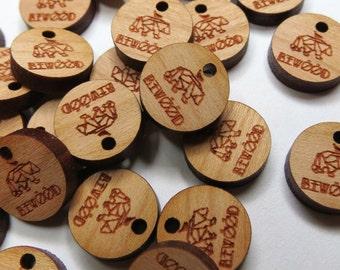 50 - 0.5 x 0.5 Custom Wood Tags - Custom Knitting Tags